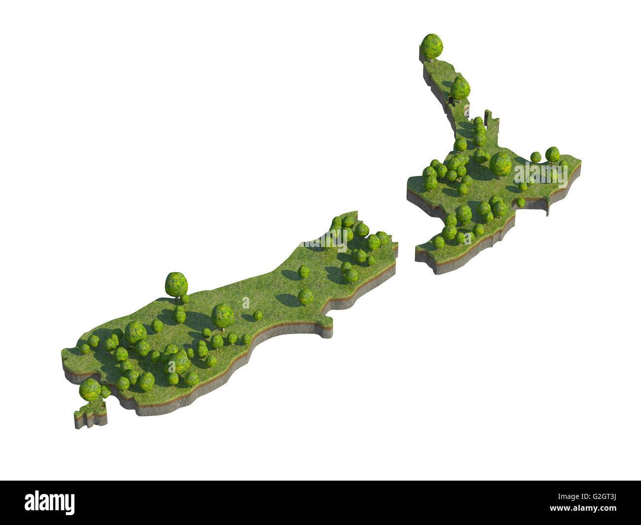 3d Map Of New Zealand.3d Render Of New Zealand Map Section Cut Isolated On White With