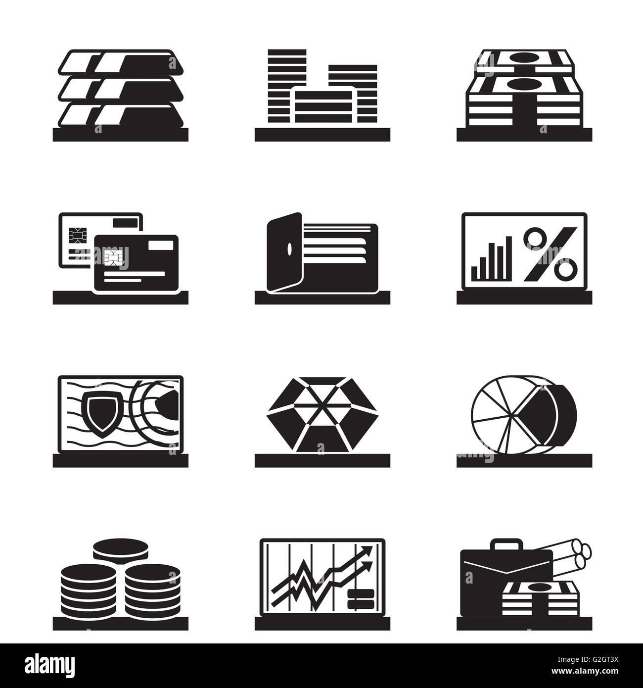 Financial assets, values and operations - vector illustration - Stock Image