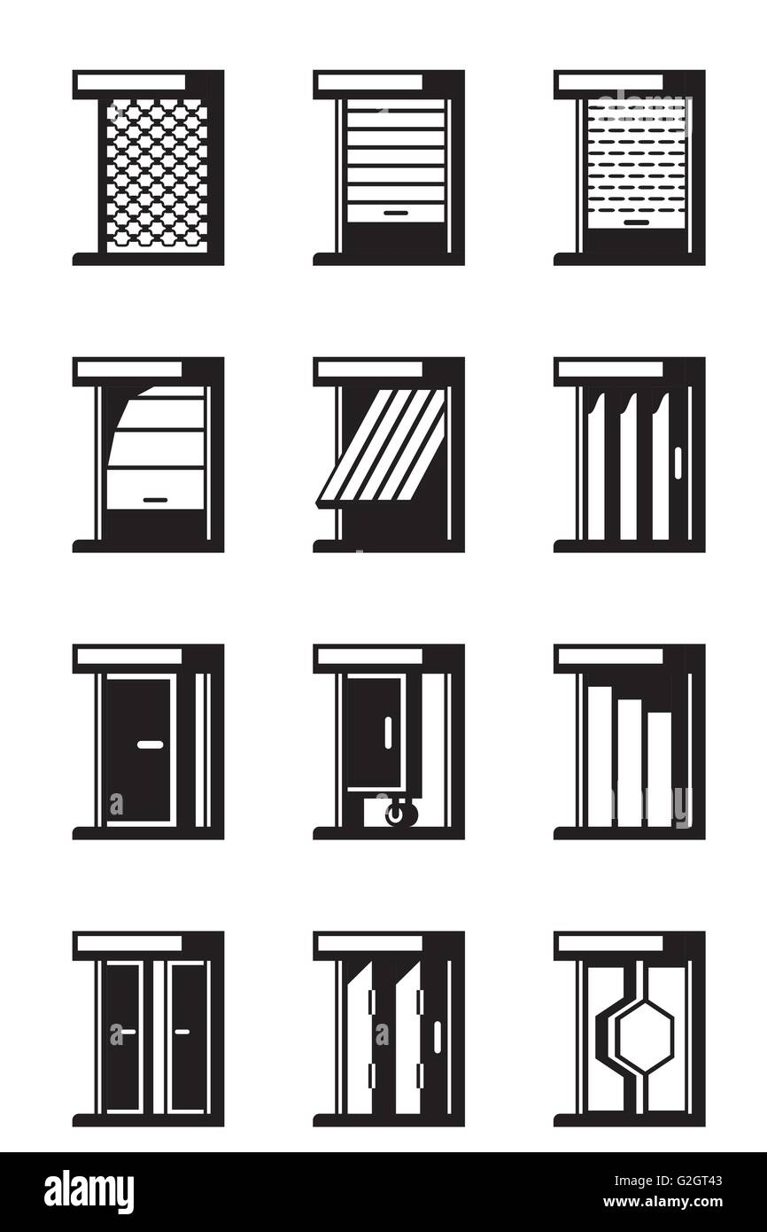 Sliding, retractable and roll-up doors - vector illustration - Stock Image