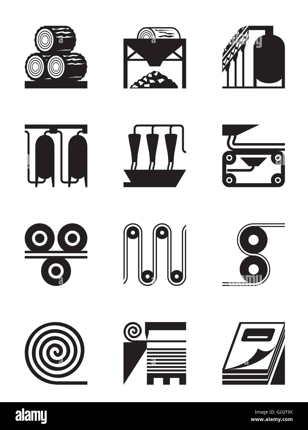 Industrial production of  paper - vector illustration - Stock Image