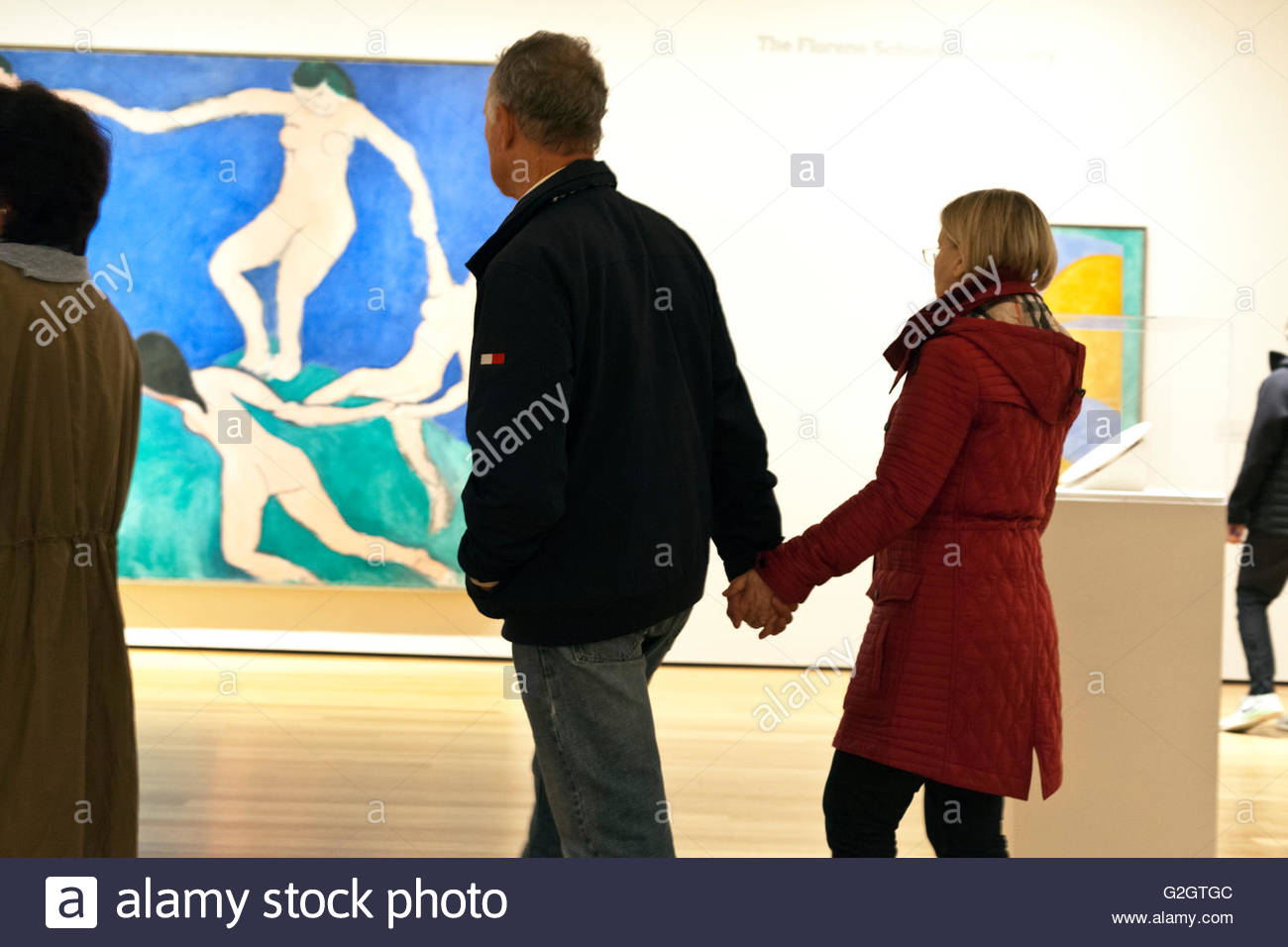 People Walking In The Gallery With Matisse Painting Dance 1