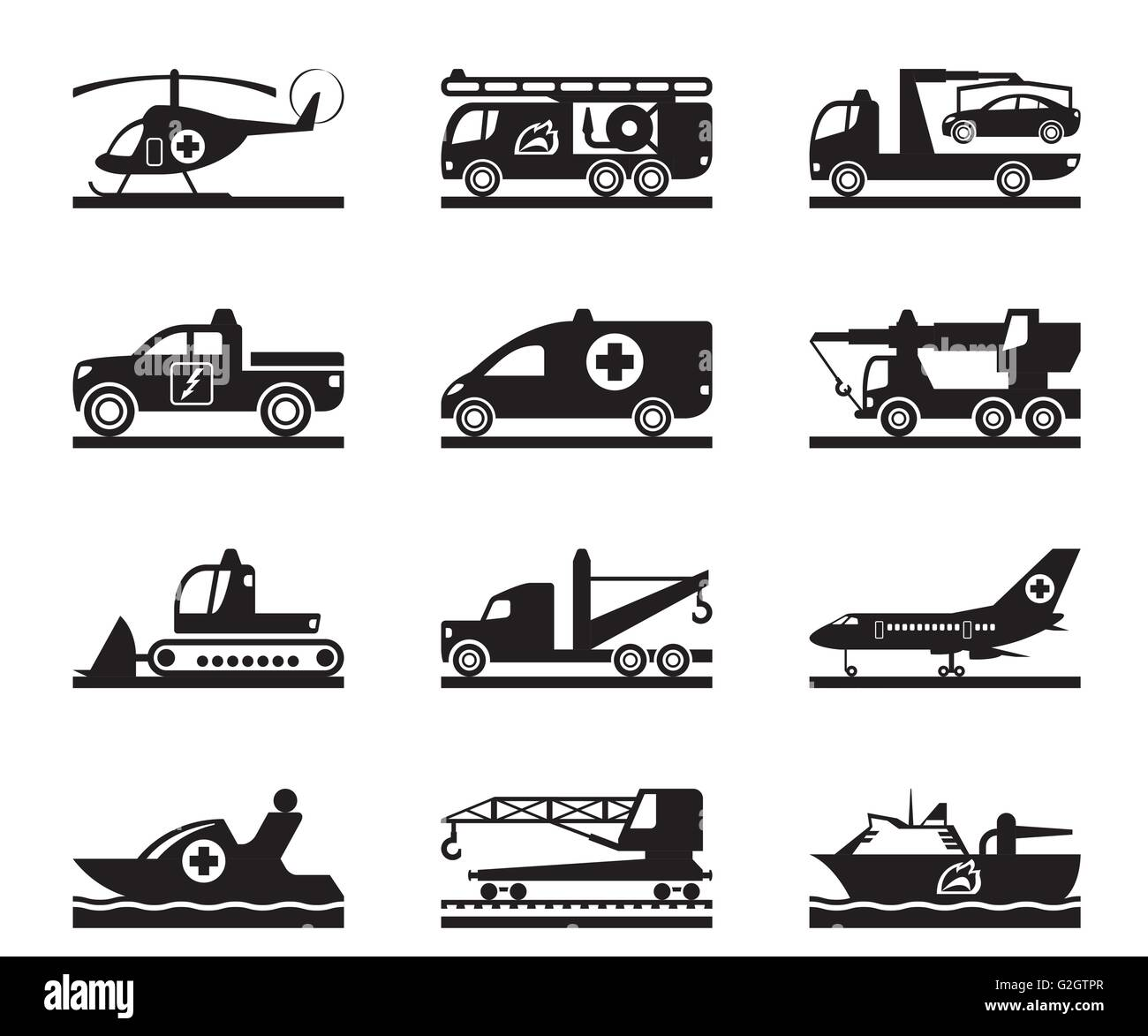 Vehicles for accidents, emergencies and natural disasters - vector illustration - Stock Image