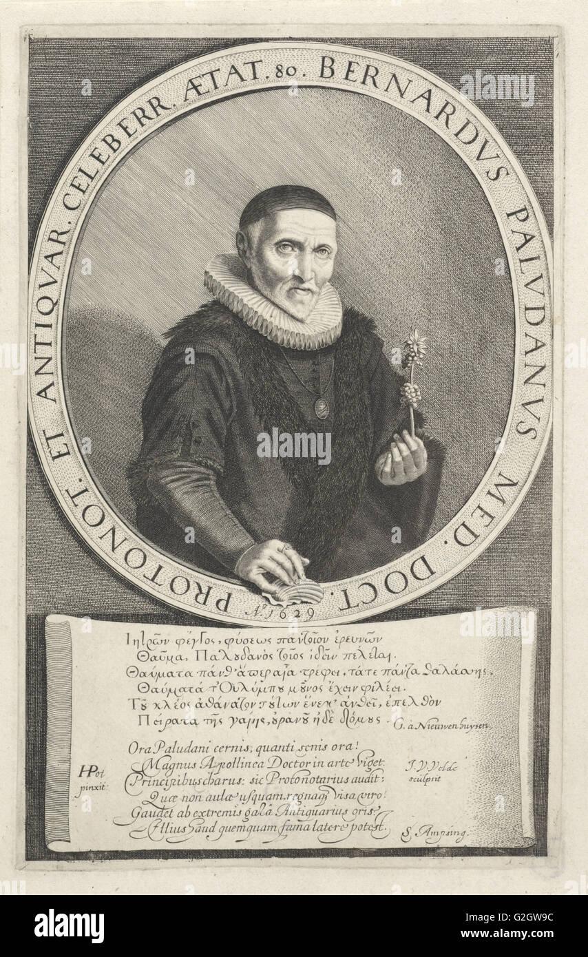 Portrait Bernard Paludanus, print maker: Jan van de Velde II, Hendrik Gerritsz. Pot, G. à Nieuwenhuysen, 1629 - Stock Image