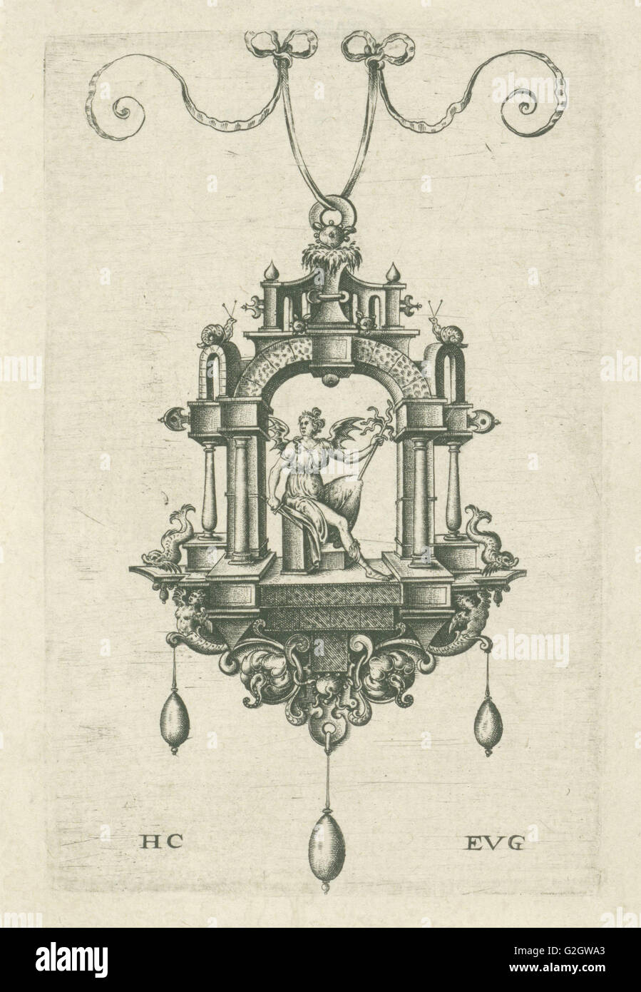 Pendant (pendeloque) with a winged woman with snake sword and stick in the hands. Hans Collaert (I), Monogrammist - Stock Image