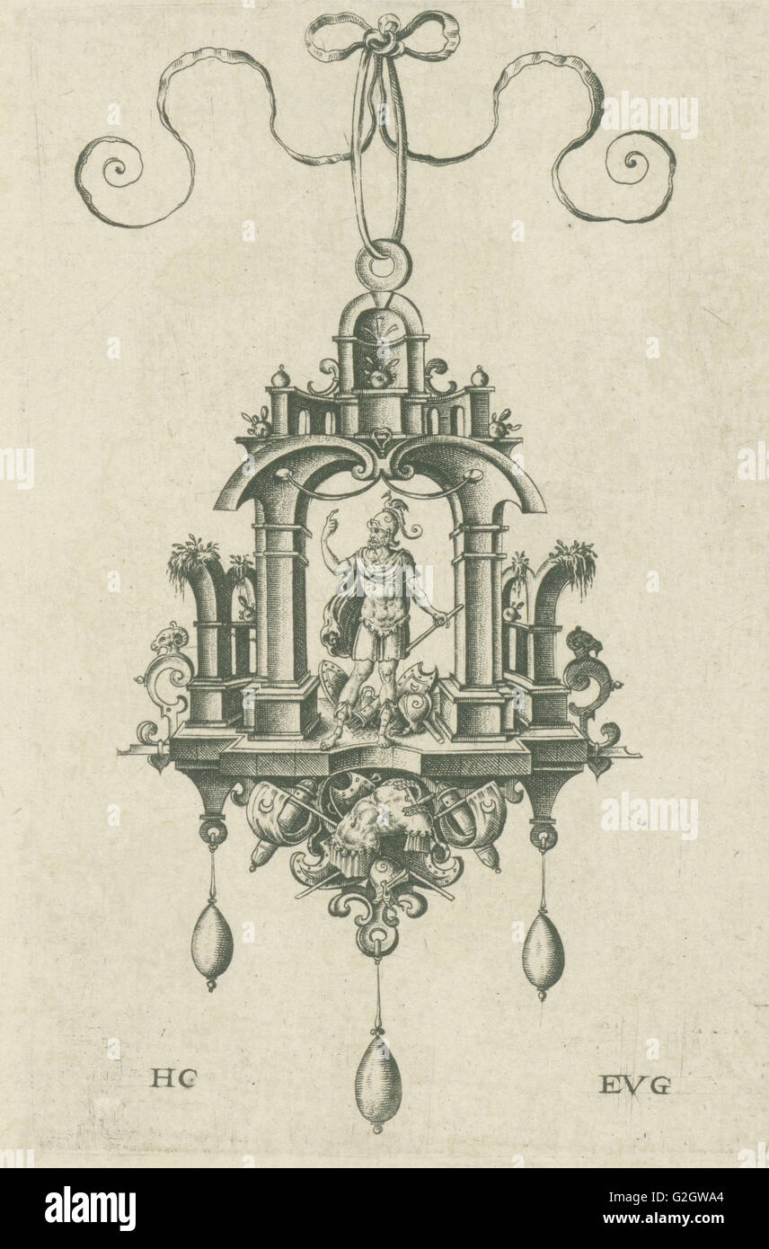 Pendant (pendeloque) Mars, Hans Collaert (I), Anonymous, 1555 - 1576 - Stock Image