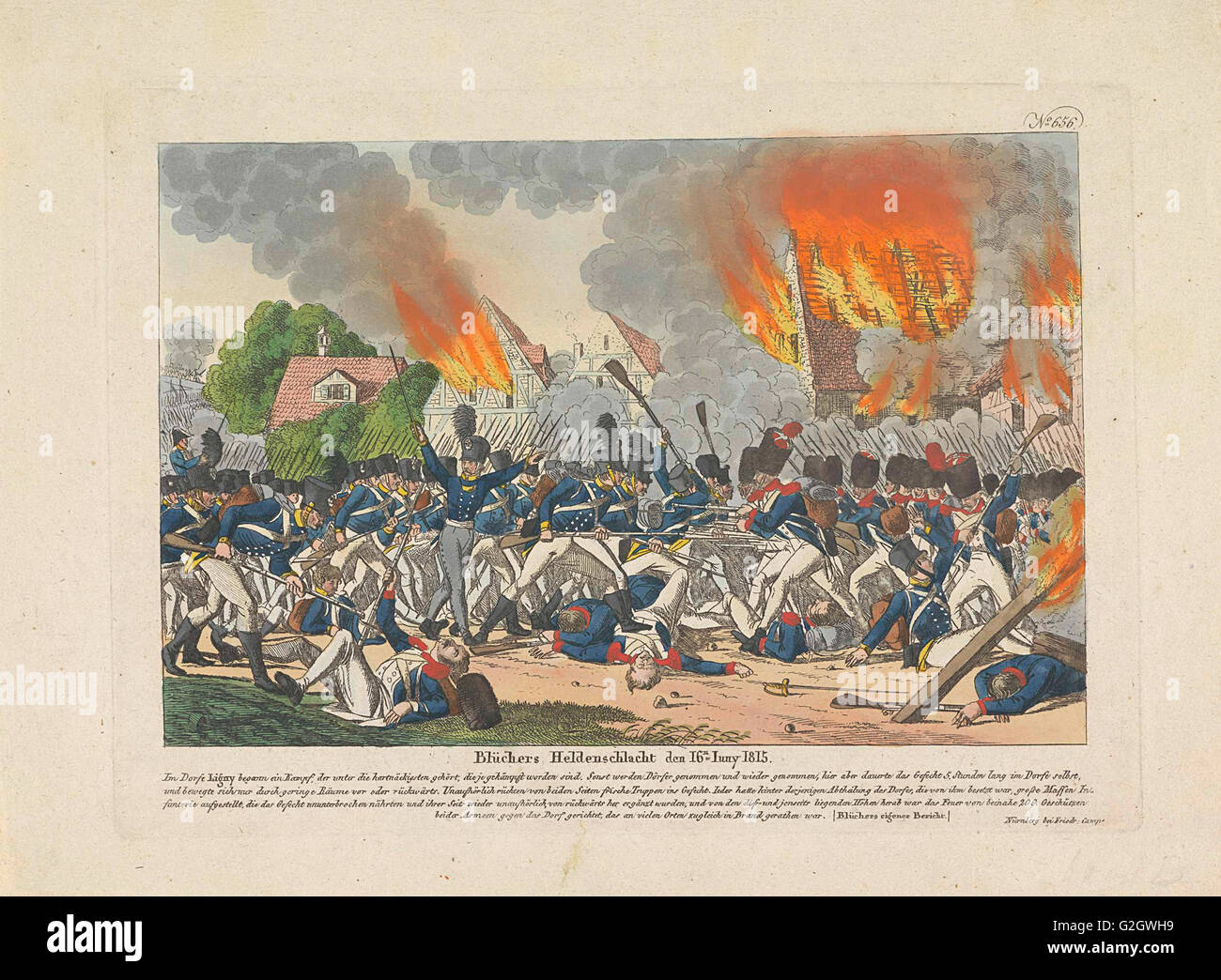 Battle of Ligny, 1815, Belgium, Anonymous, Friedrich Campe, 1815 - Stock Image
