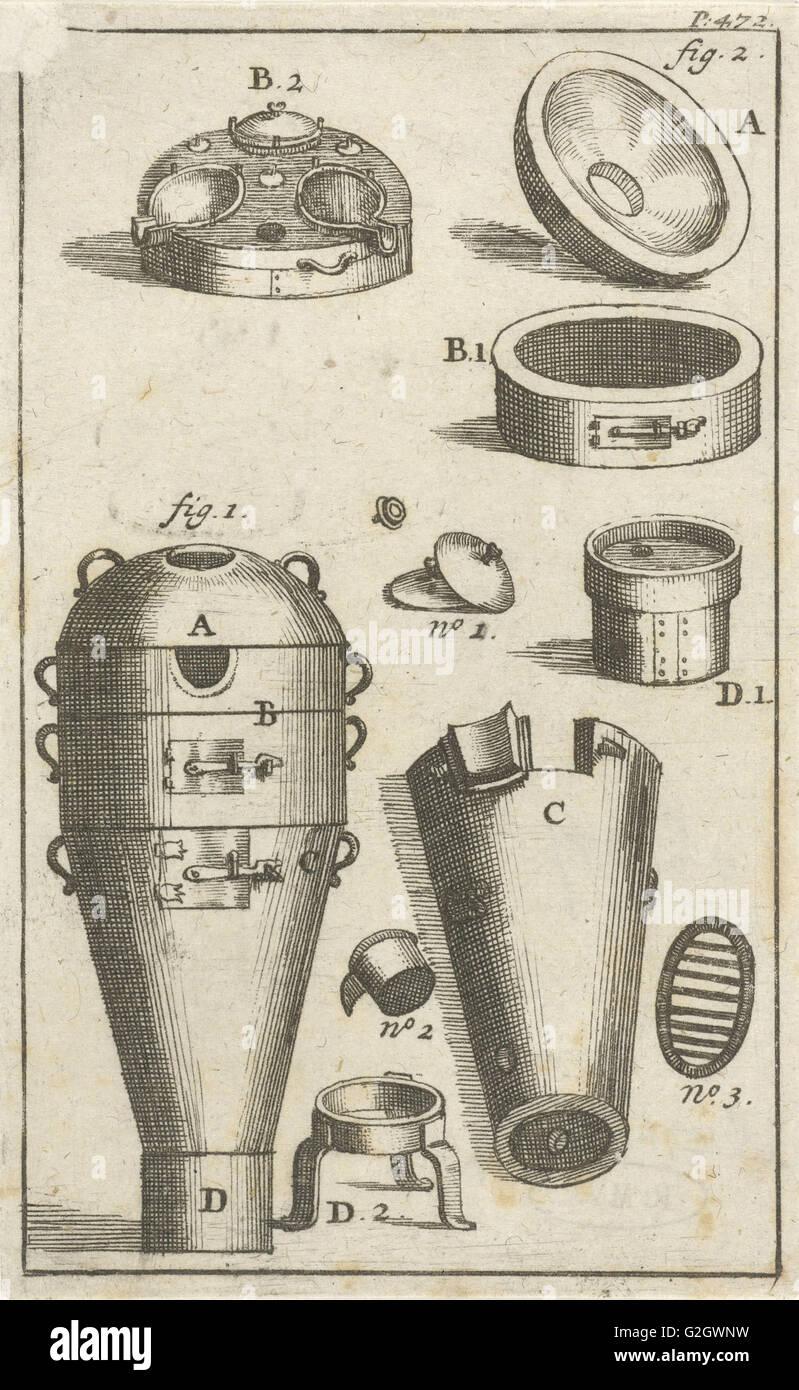 Distillation device and different parts thereof separately, print maker: Jan Luyken, Jan Claesz ten Hoorn, 1693 - Stock Image