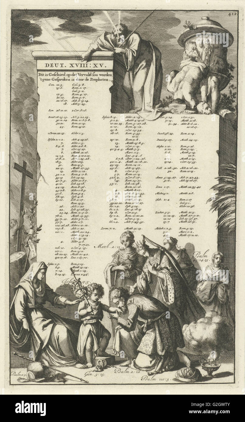 Wall mentioning Old Testament, texts that refer to Christ, Jan Luyken, Wilhelmus Goeree (I), 1690 - Stock Image