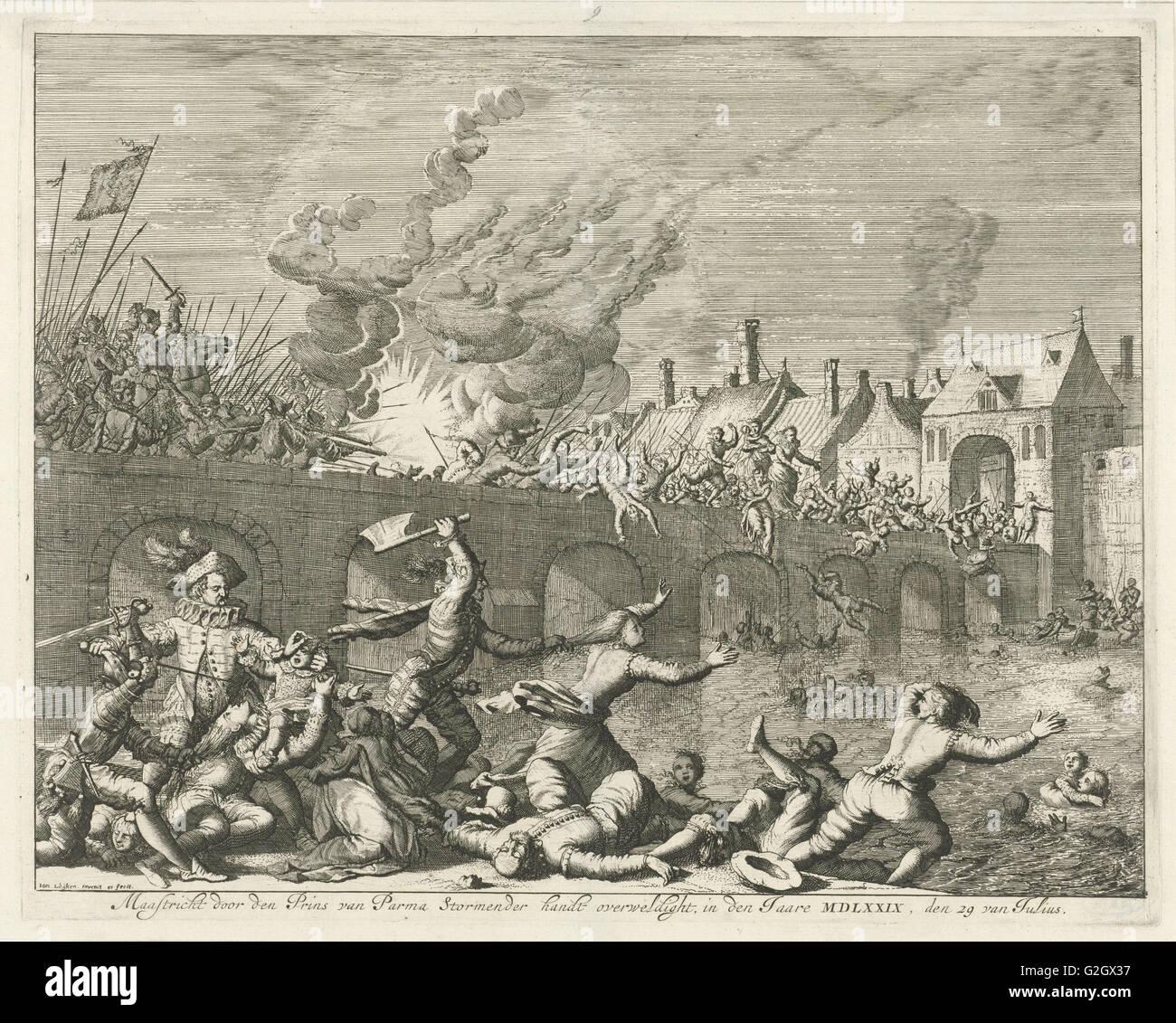 Spaniards killing people in Maastricht, 1579, Jan Luyken, 1678 - 1680 - Stock Image