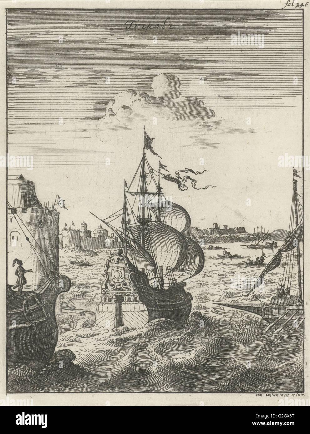 Ships sailing in Tripoli, Jan Luyken, 1684 - Stock Image