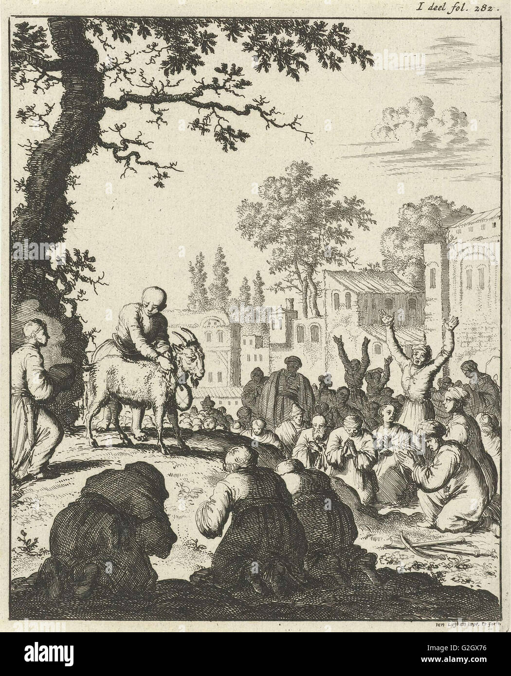 Worship of the white goat, print maker: Jan Luyken, weduwe Joannes van Someren, 1682 - Stock Image