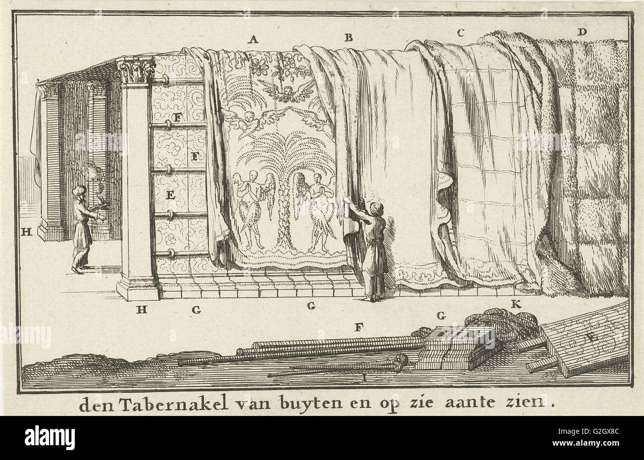 Construction of the Tabernacle, Jan Luyken, Willem Goeree, 1683 - Stock Image