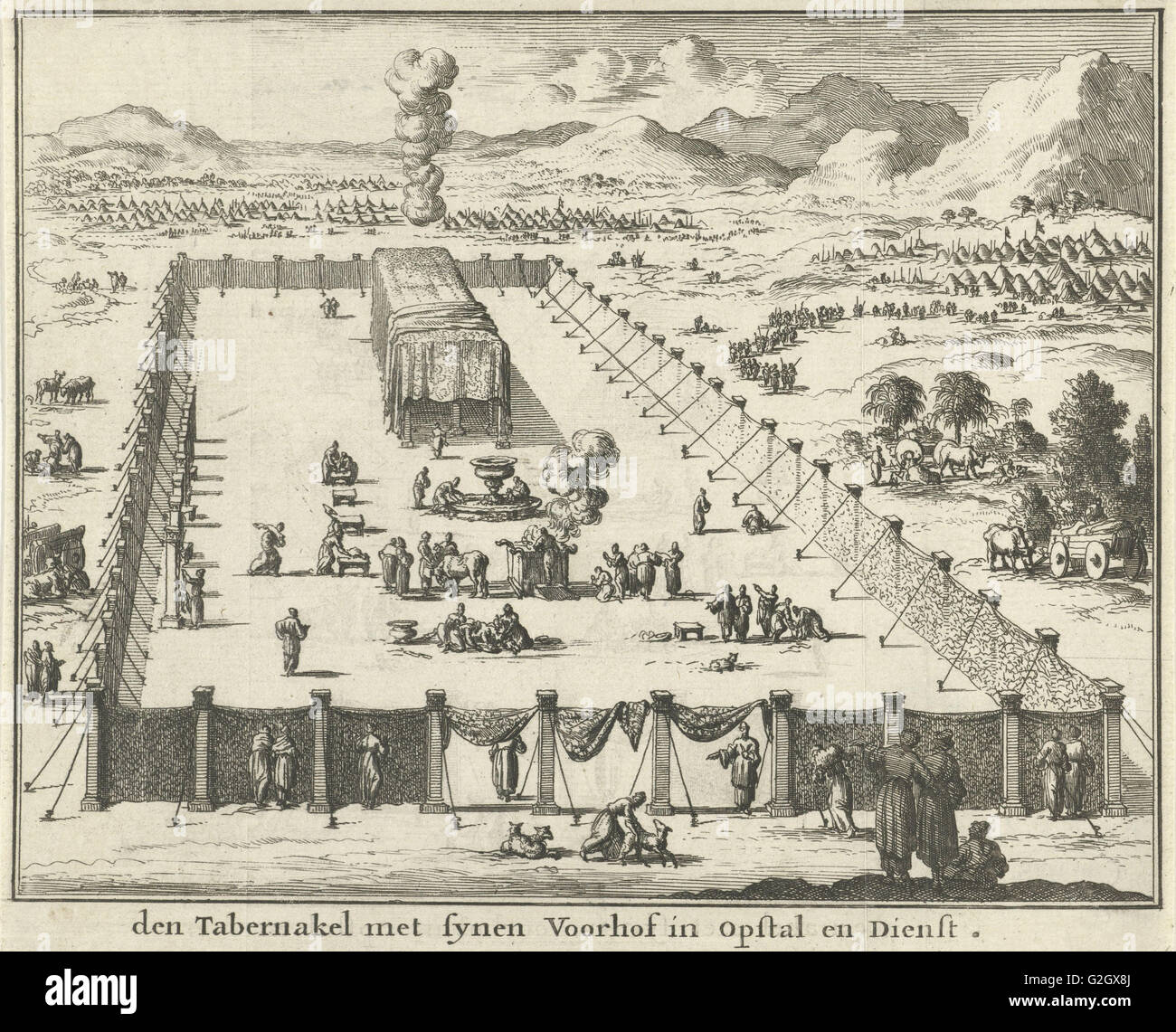 View of the court and the Tabernacle, Jan Luyken, Willem Goeree, 1683 - Stock Image