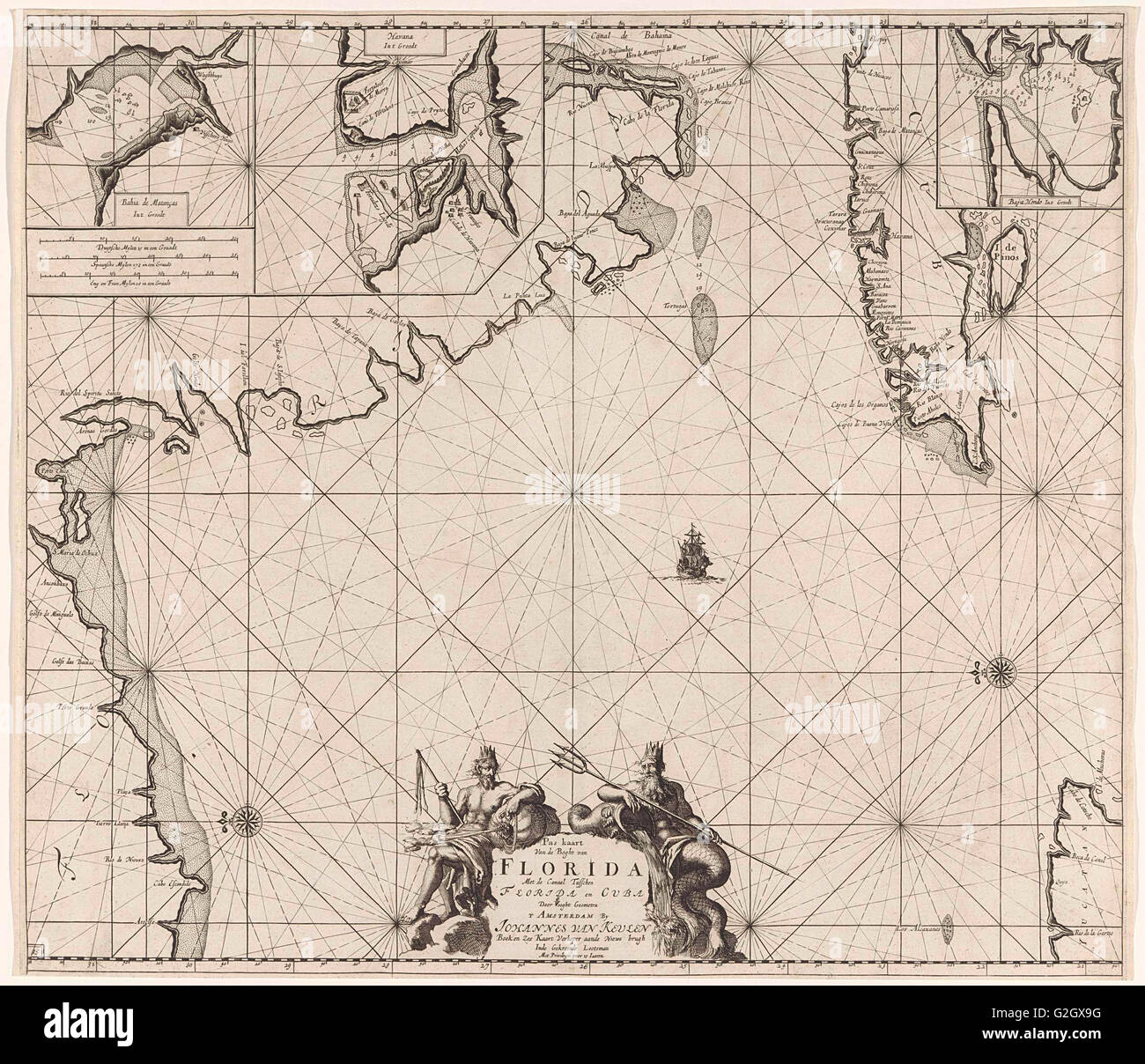 Sea chart of part of the Gulf of Mexico, with the coast of Florida, Jan Luyken, Claes Jansz Voogt, Johannes van - Stock Image
