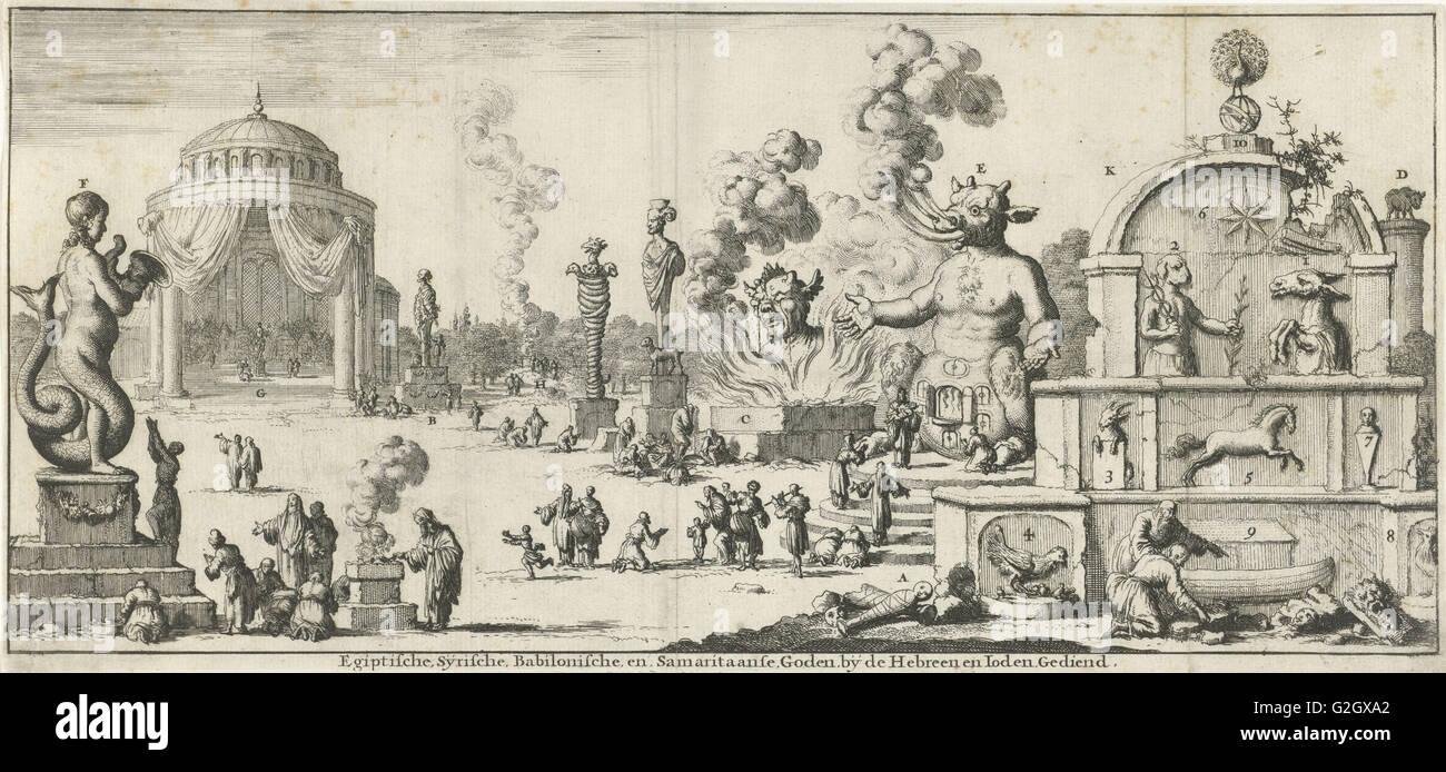 Egyptian, Syrian, Babylonian and Samaritan gods worshiped by the Hebrews and Jews, Jan Luyken, Willem Goeree, 1682 Stock Photo