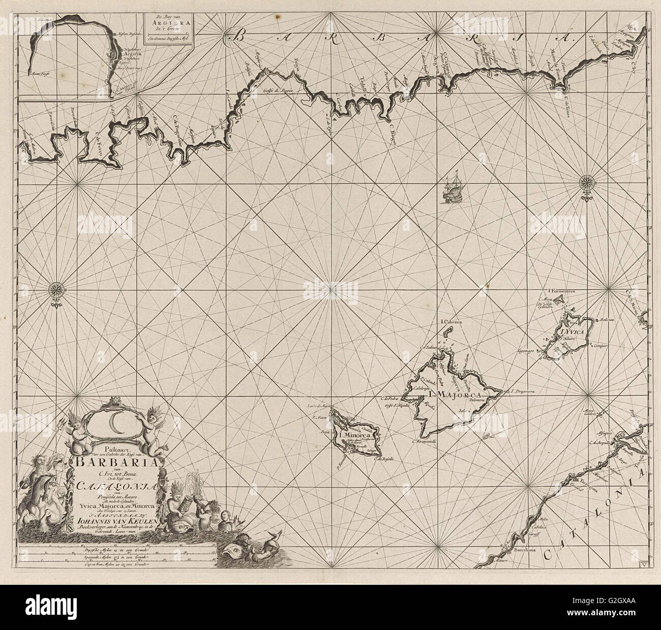 Sea chart of a part of the Mediterranean Sea with the coasts of Spain and Algeria, Anonymous, Johannes van Keulen - Stock Image