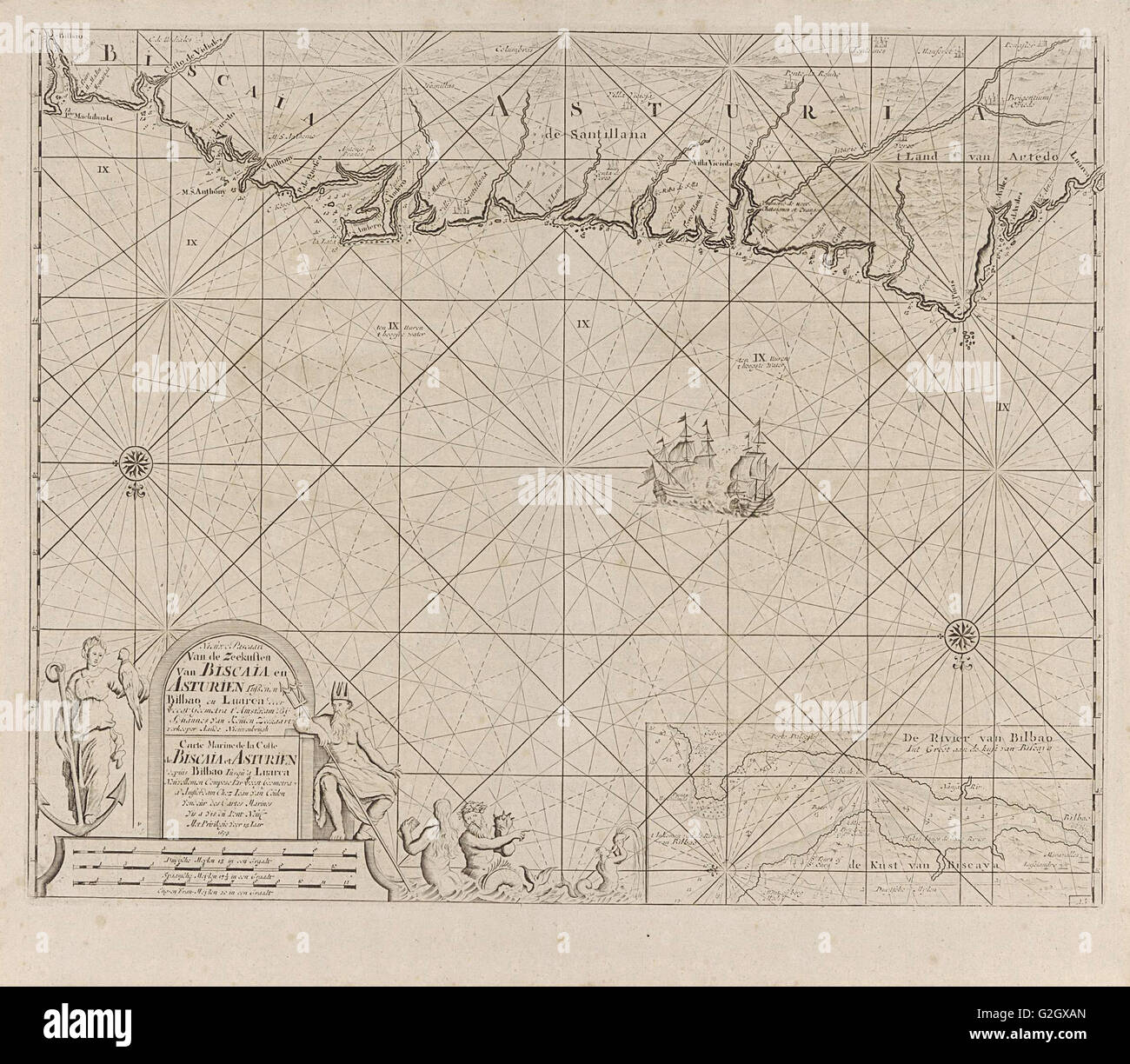 Sea chart of a portion of the Bay of Biscay in Bilbao, Anonymous, Claes Jansz Voogt, Johannes van Keulen (II), 1734 - Stock Image