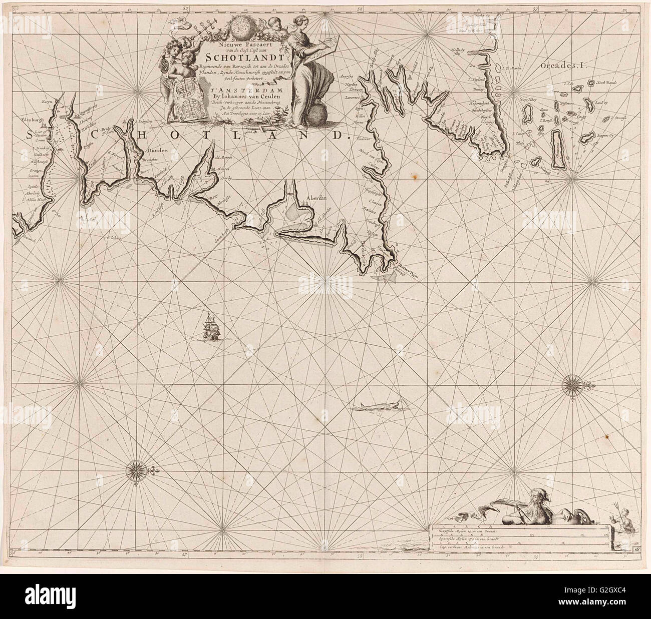 Sea chart of part of north east coast of Scotland and the Orkney Islands, Jan Luyken, Johannes van Keulen I, unknown, - Stock Image