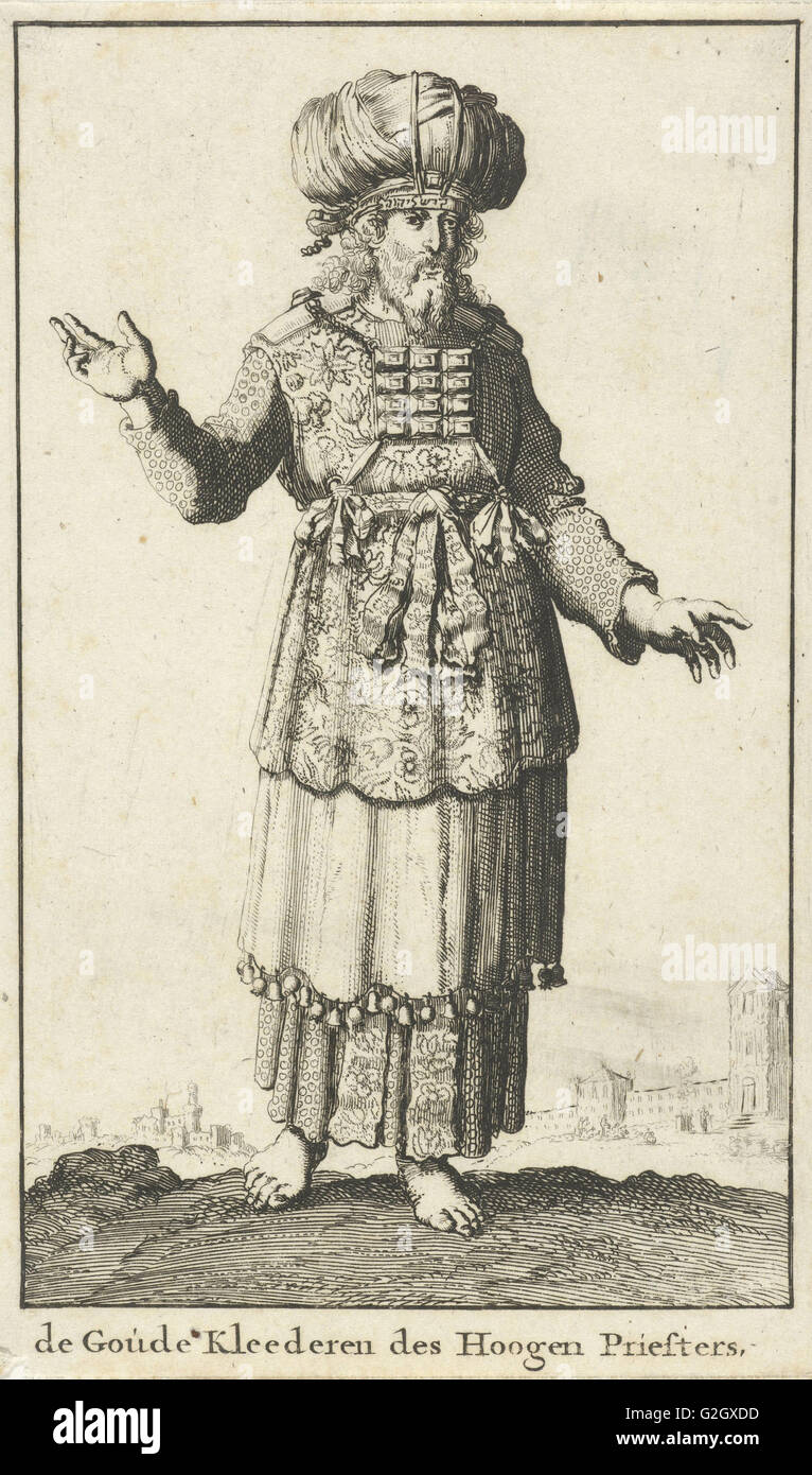 High Priest in liturgical clothing (version A), Jan Luyken, Willem Goeree, 1682 Stock Photo