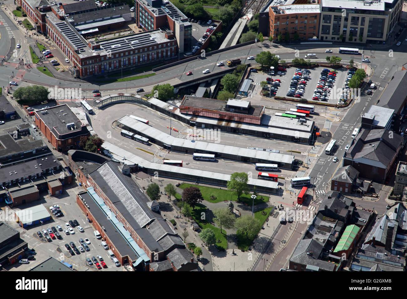 aerial view of Bury town centre bus station terminal, Lancashire, UK - Stock Image