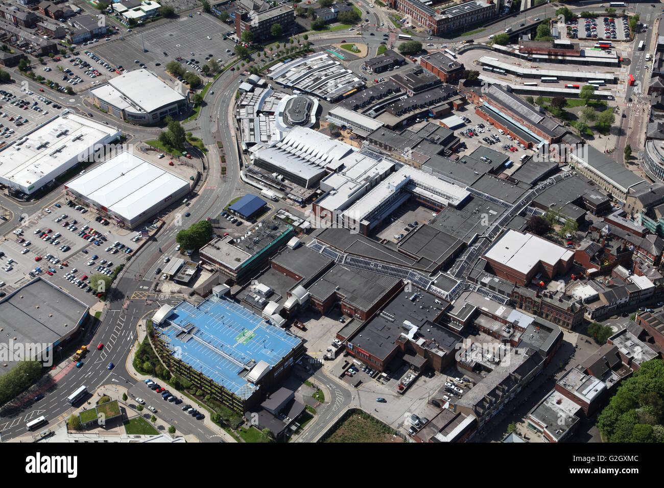 aerial view of Bury town centre, Lancashire, UK - Stock Image