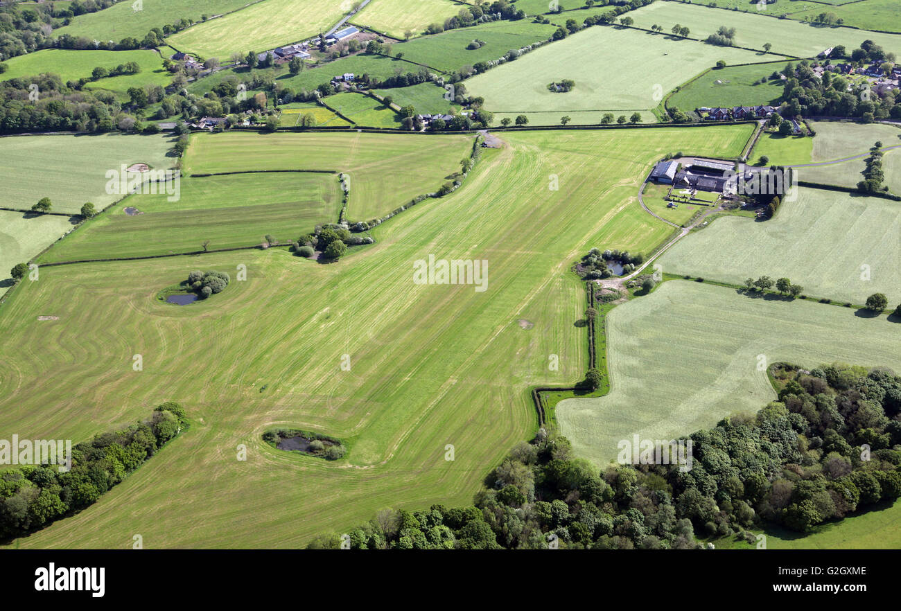 aerial view of Hoghton Airfield also known as Higher Barn Farm Airfield near Preston, Lancashire, UK - Stock Image