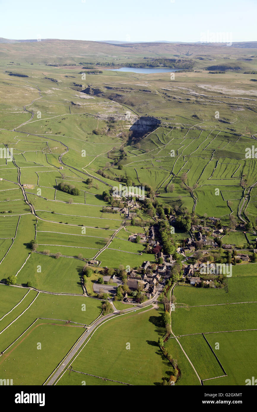 aerial view of Malham village, Malham Cove & Tarn, Yorkshire, UK - Stock Image