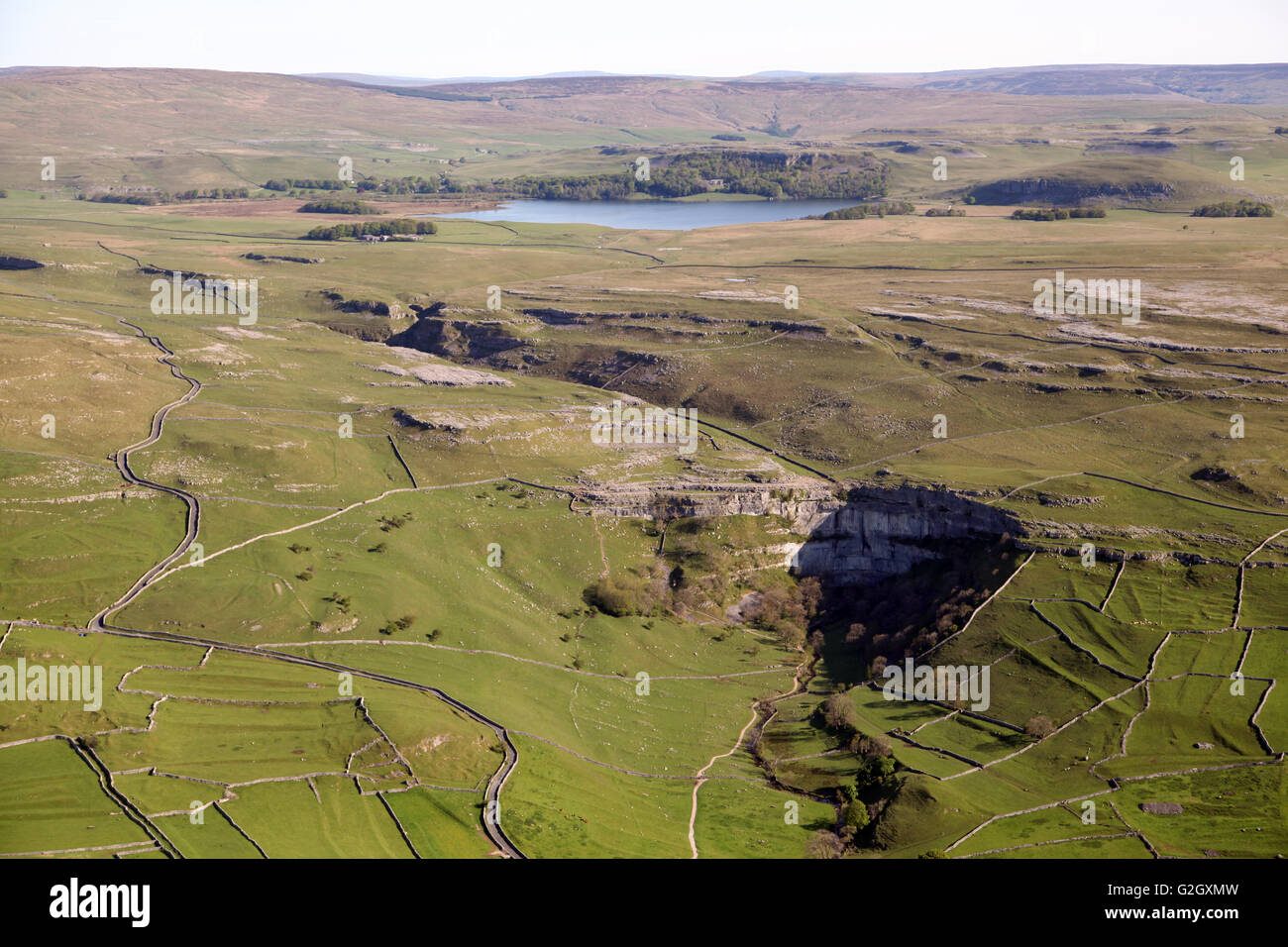 aerial view of Malham Cove & Malham Tarn, Yorkshire, UK - Stock Image