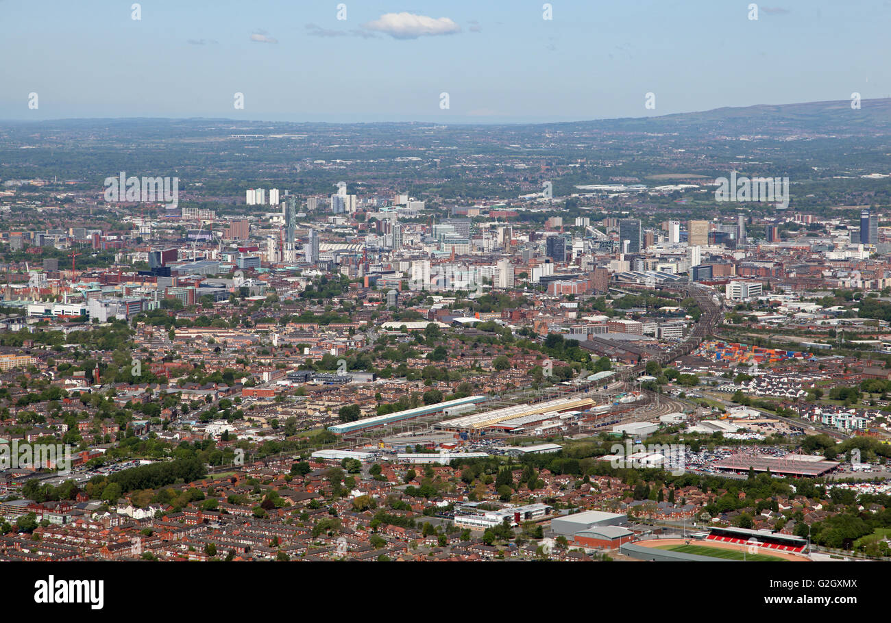 aerial view of the Manchester skyline, UK - Stock Image