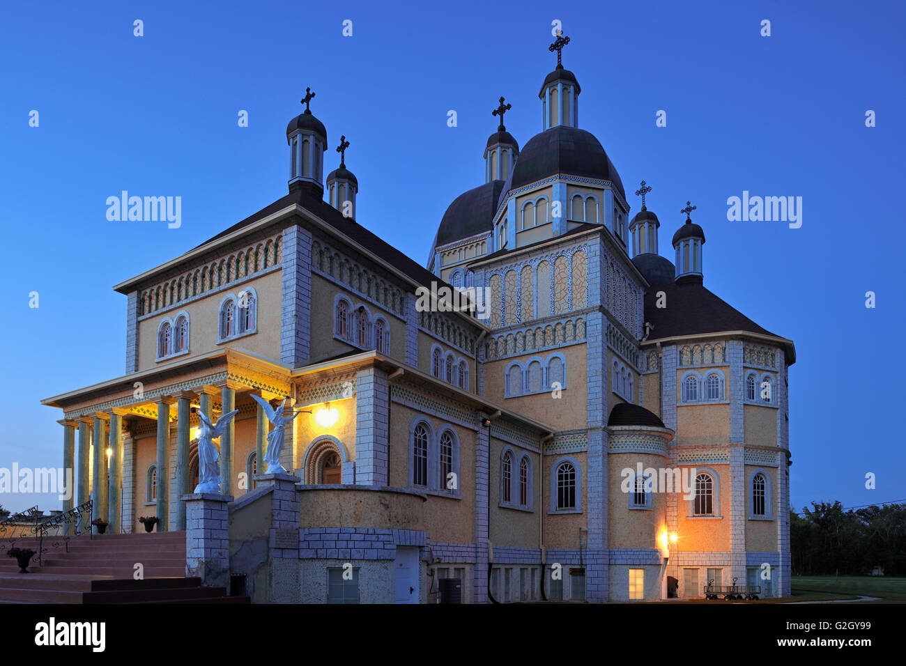 Ukrainian Catholic Church of the Immaculate Conception at dusk (Prairie Cathedral) Cooks Creek Manitoba Canada - Stock Image