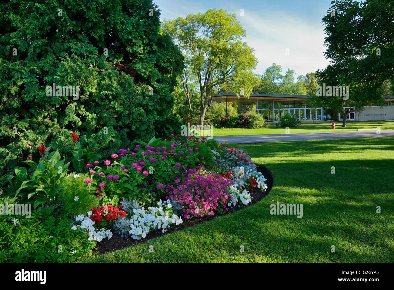 Flower gardens at St. Vital Park Winnipeg Manitoba Canada - Stock Image