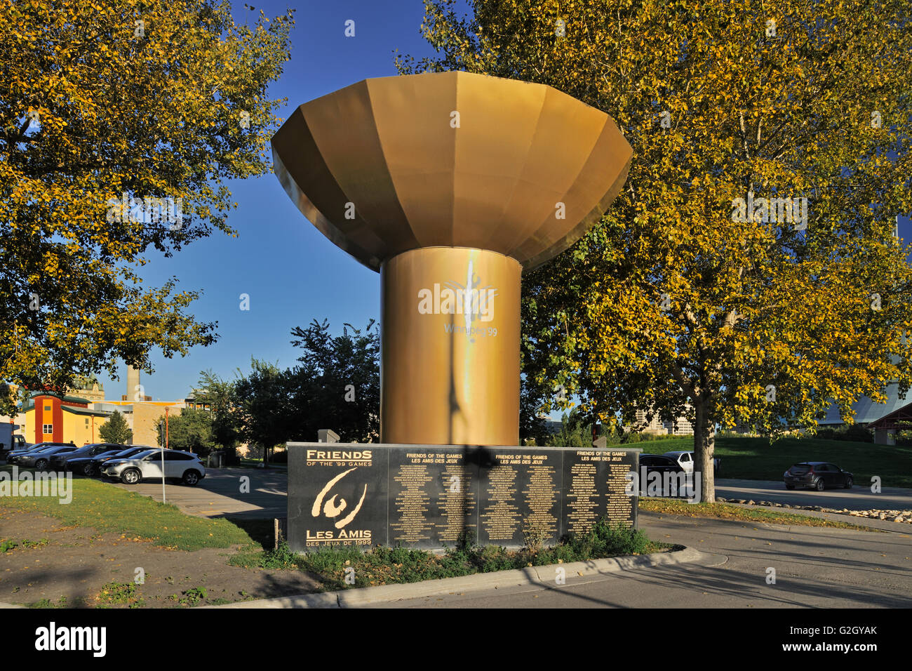 Sculpture commemorating the Panam Games, The Forks Winnipeg Manitoba Canada - Stock Image