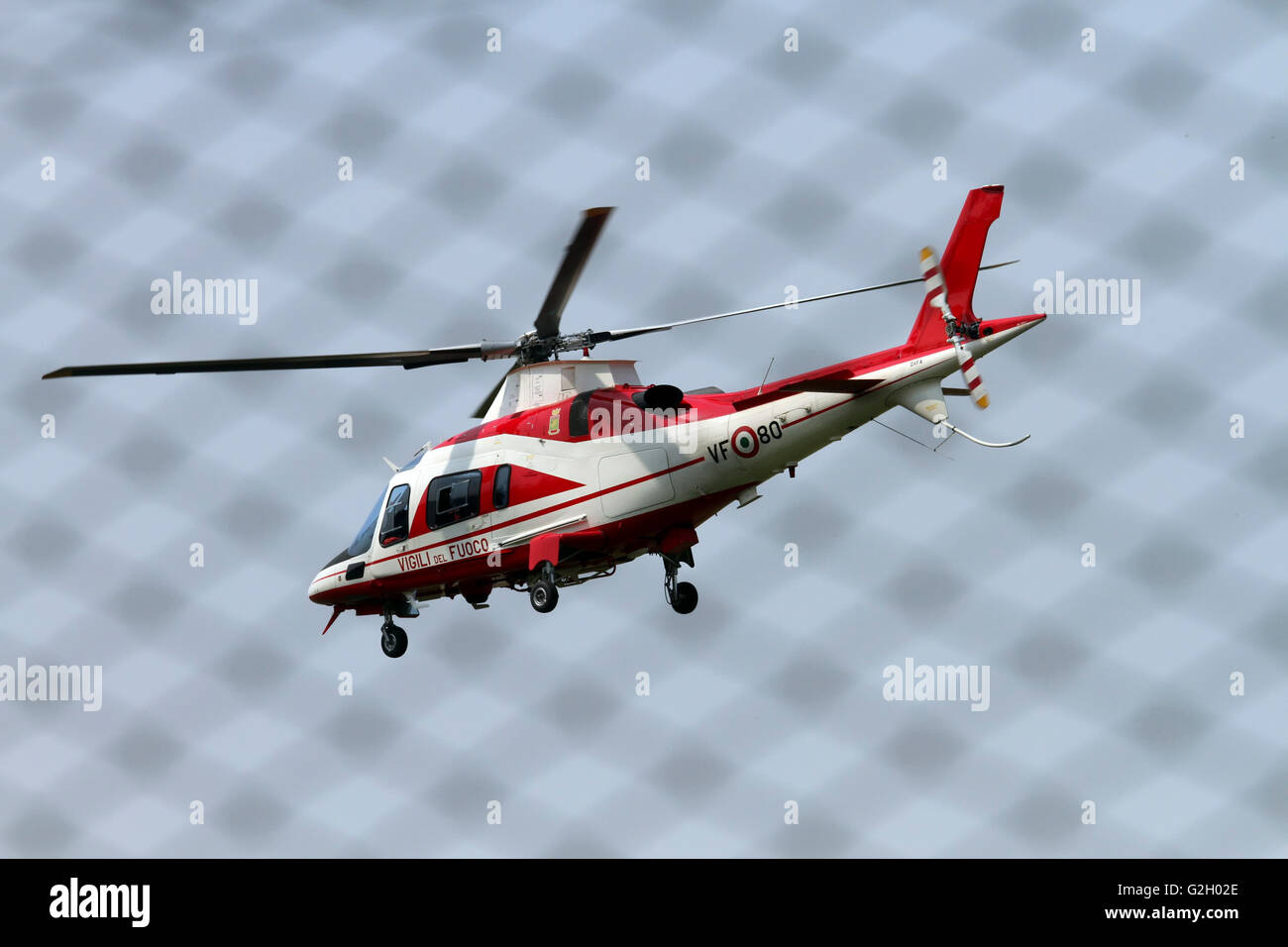 Vigili del Fuoco VF 80 Agusta A109 Power Helicopter Photographed at Malpensa airport, Milan, Italy - Stock Image