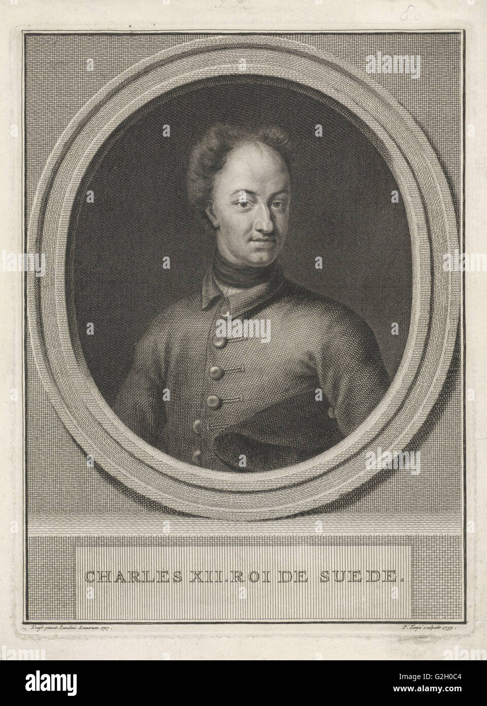 Portrait of King Charles XII of Sweden, Pieter Tanjé, 1739 - Stock Image