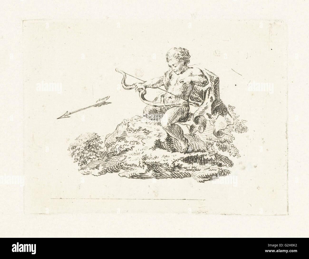 Vignette with Amor firing an arrow, Willem Bilderdijk, 1766 - 1831 - Stock Image