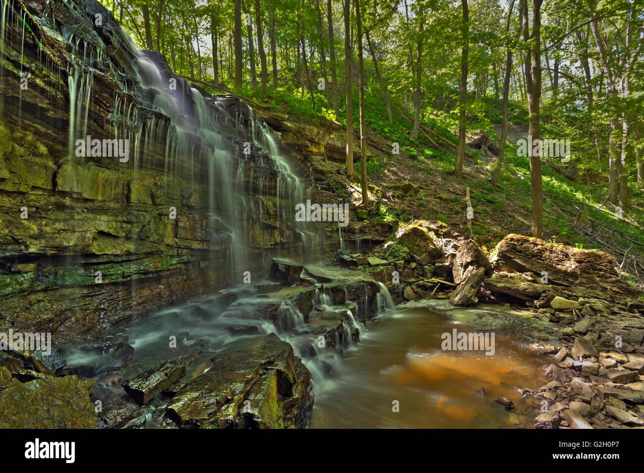 Sixteen Mile Creek trickles over Louth Falls in the Niagara Peninsula Jordan Ontario Canada - Stock Image