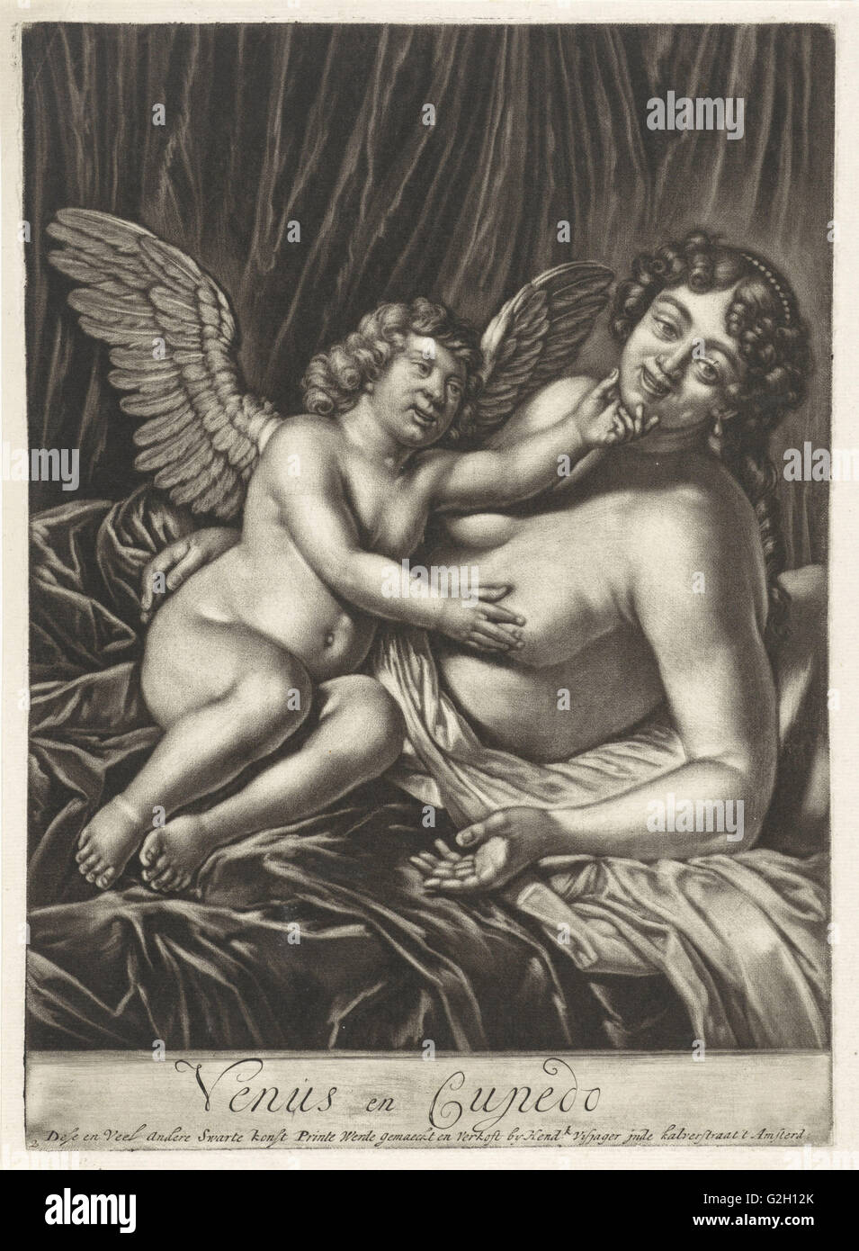 Venus and Amor. Anonymous, Jan Verkolje (I), Hendrik Visjager, 1683 - 1684 - Stock Image