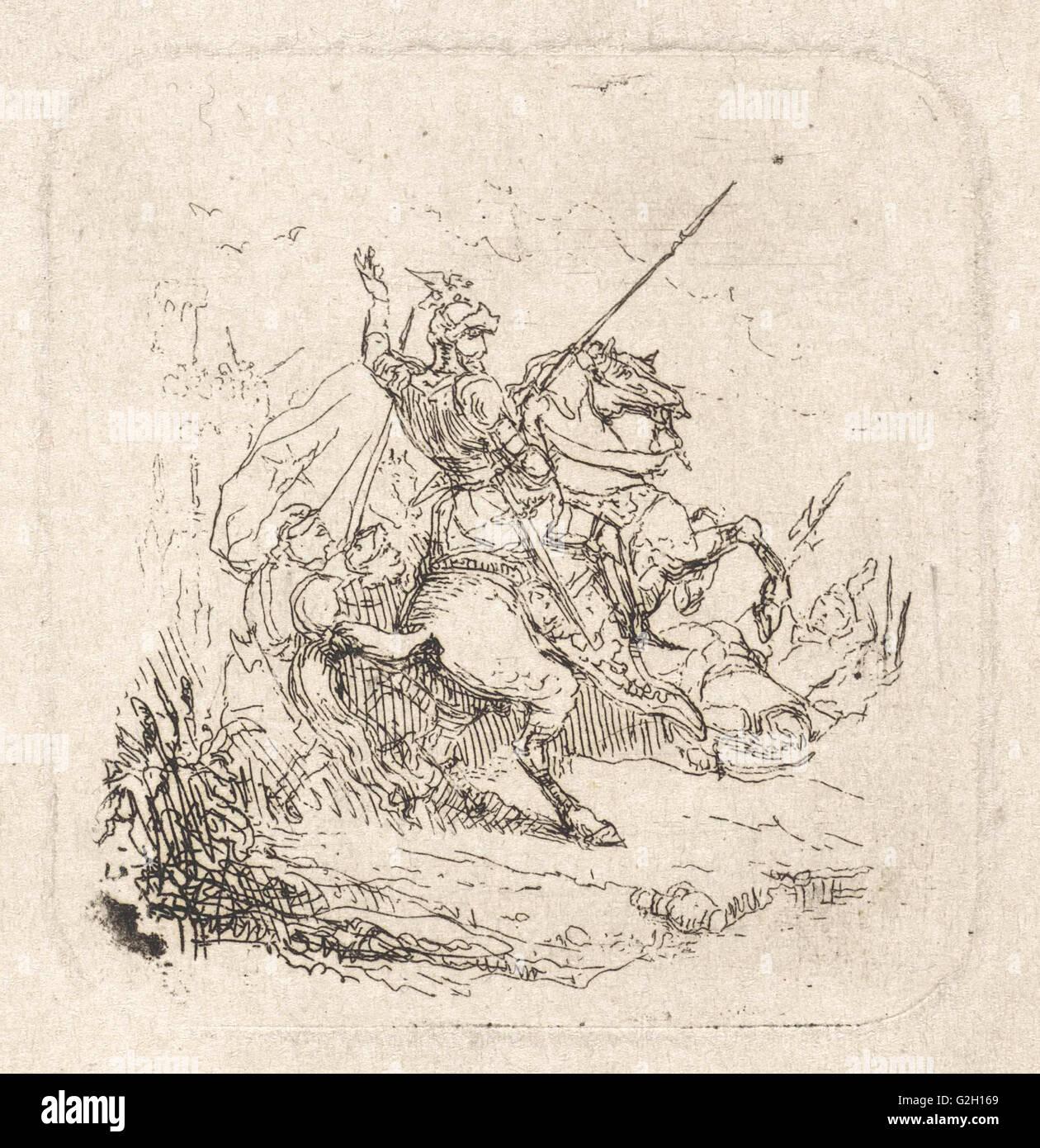 Battle, Theodoor Schaepkens, 1825 - 1883 - Stock Image