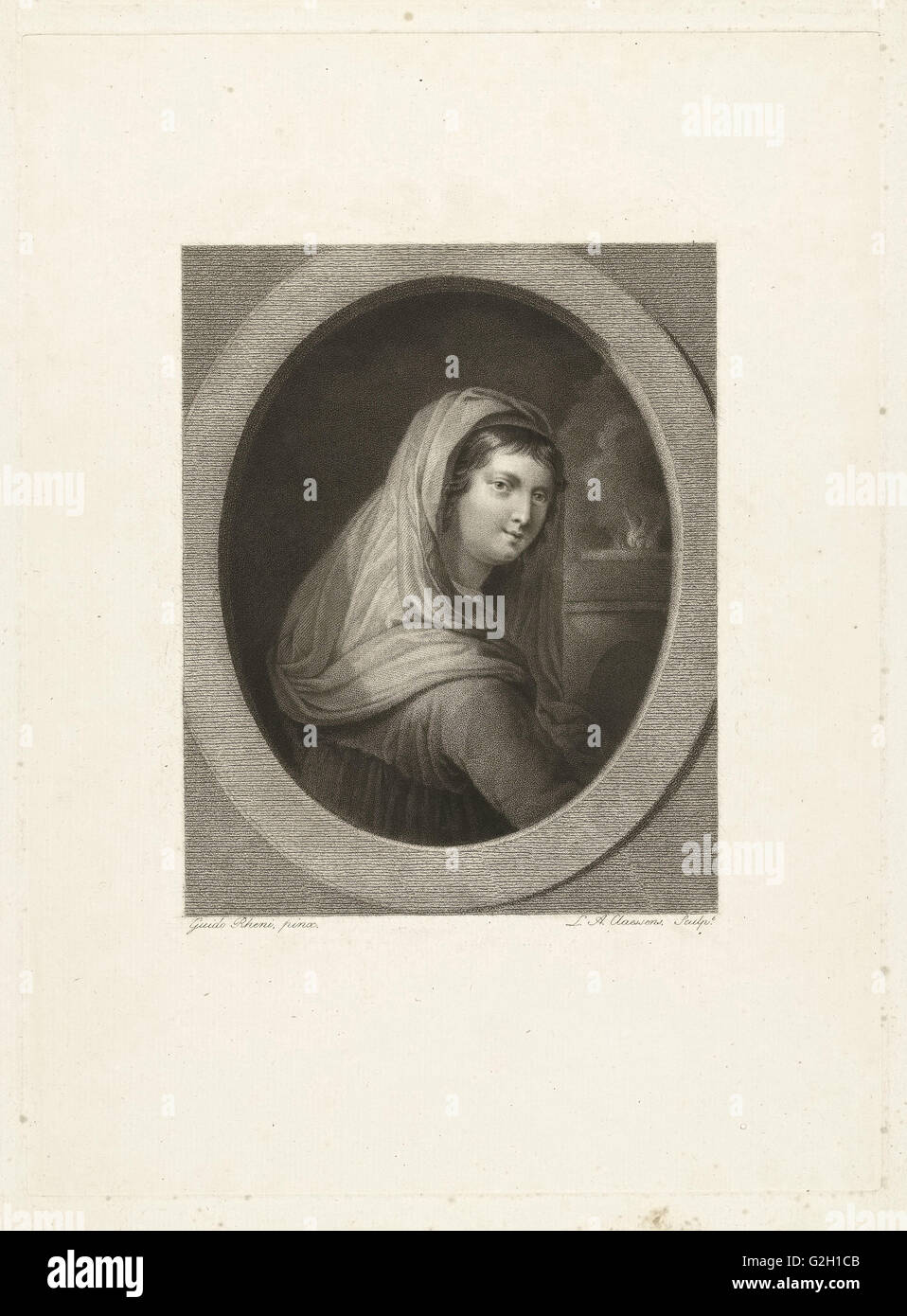 Young woman with veil, in the background a fire, Lambertus Antonius Claessens, c. 1829 - c. 1834 - Stock Image