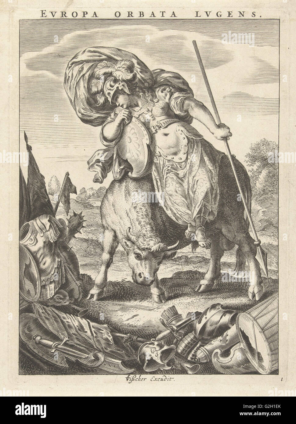 Female personification of the continent of Europe represented as a woman in armor on bull, Cornelis van Dalen (II) - Stock Image