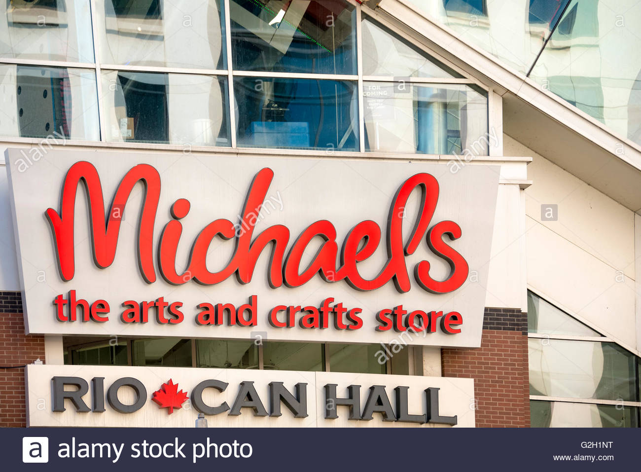 Michaels art store in downtown. Michaels is a North American arts and crafts retail chain known for selling high - Stock Image