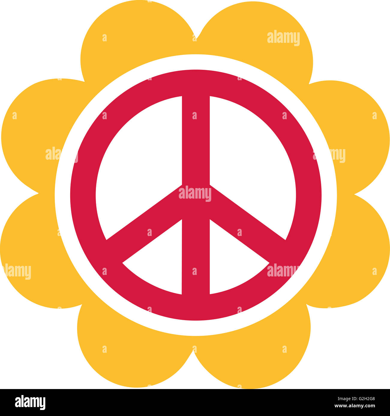 Red Peace Sign With A Big Yellow Flower Stock Photo 104866728 Alamy
