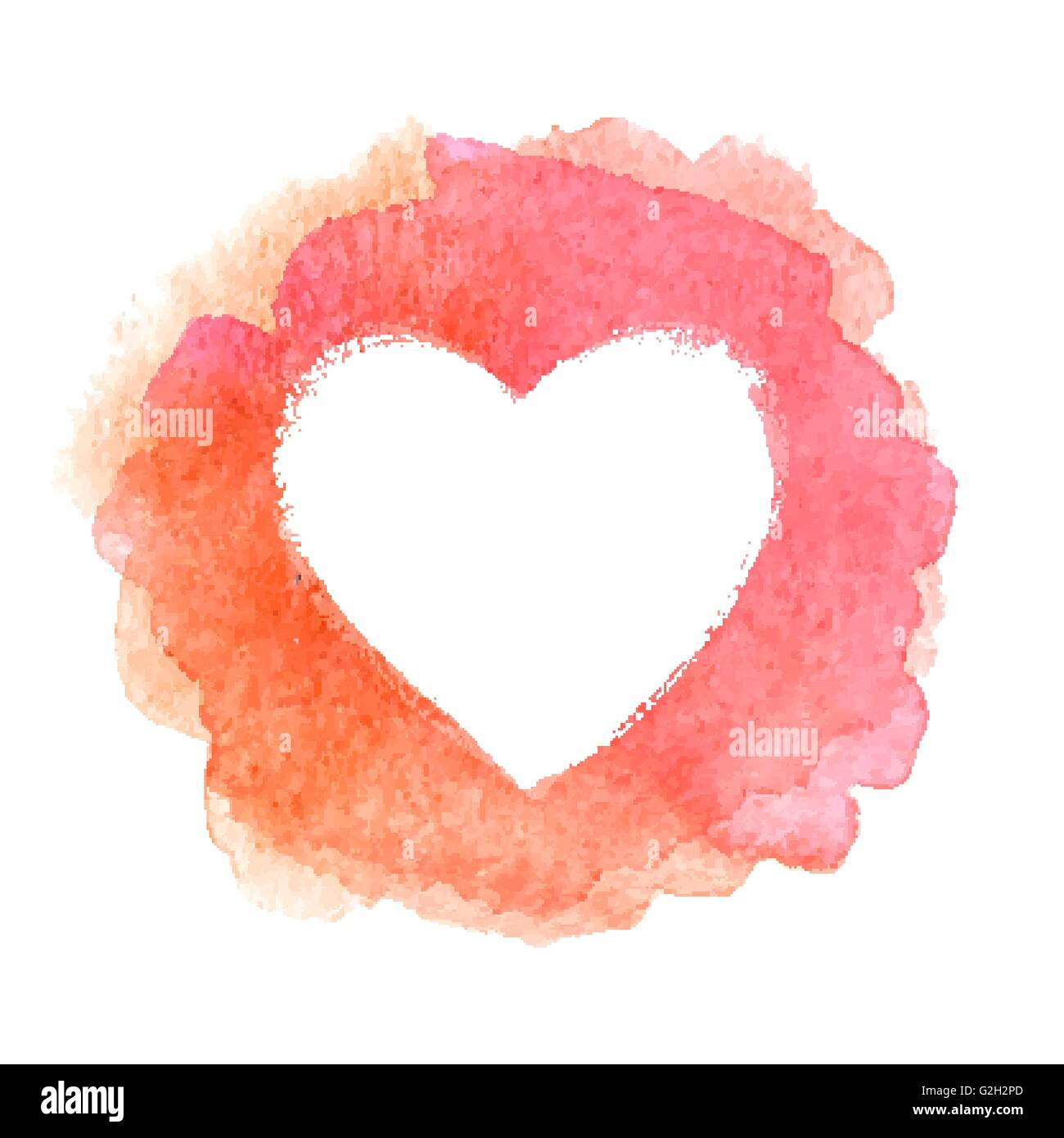 Pink watercolor painted heart shape frame Stock Vector Art ...