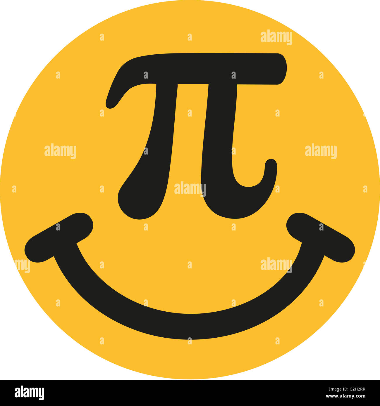 Smiley with pi sign - Stock Image