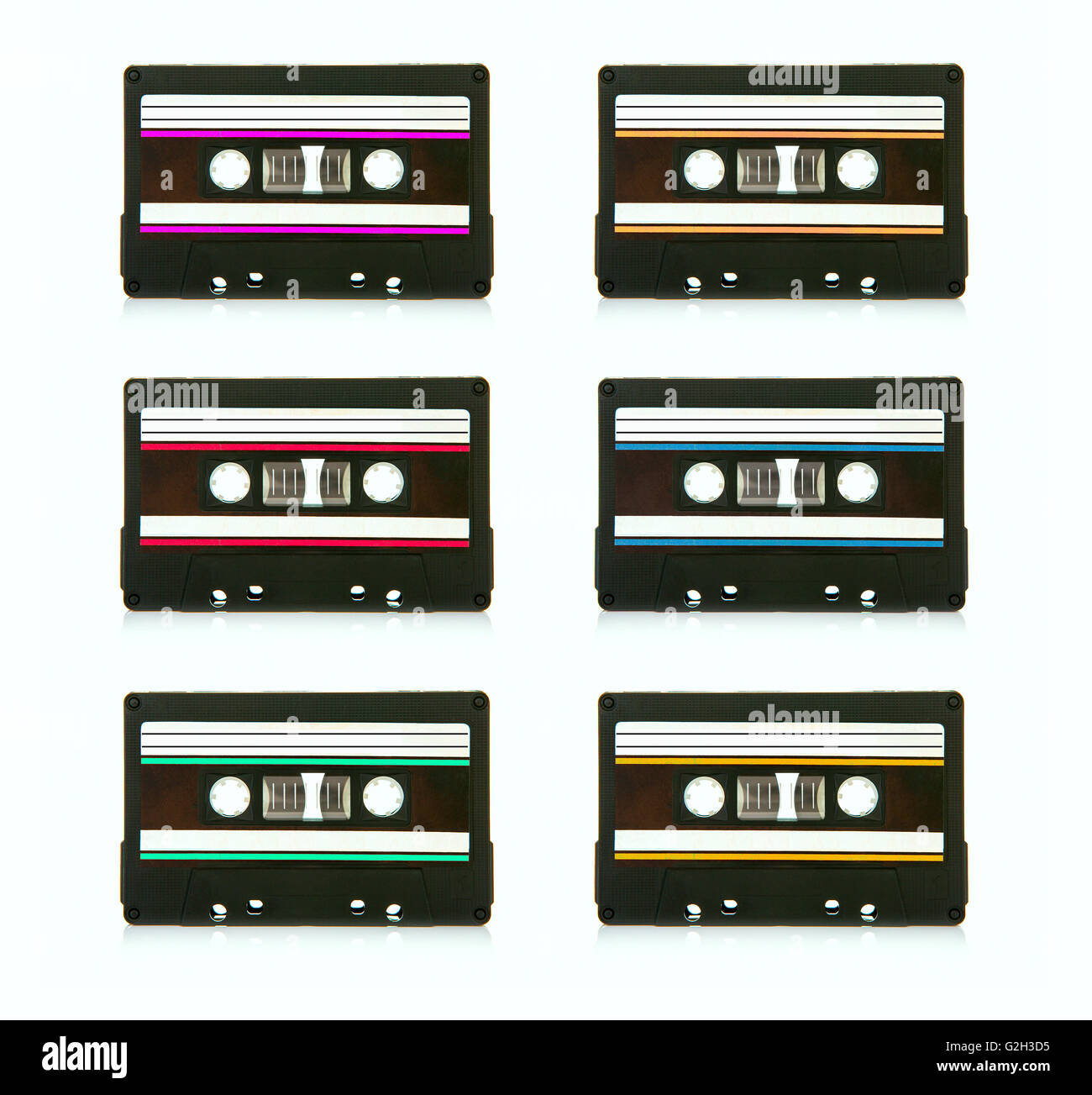 6 vintage compact cassette audio tapes on a white background - Stock Image