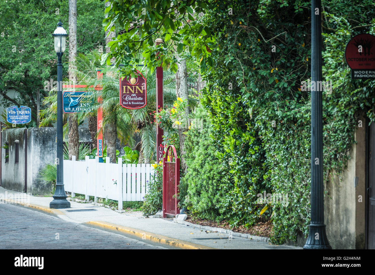 Bed & Breakfast inns on Charlotte Street in Old Town St. Augustine, Florida, USA. - Stock Image
