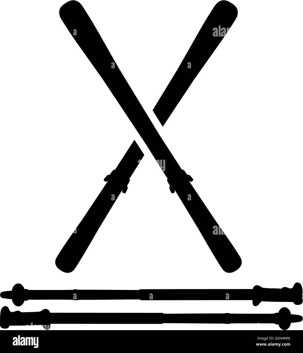 Skis with Ski Sticks - Stock Image