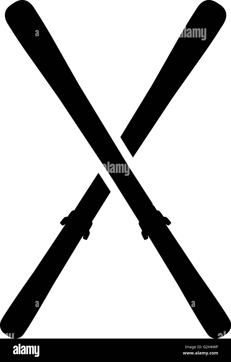 Skis Crossed Symbol - Stock Image