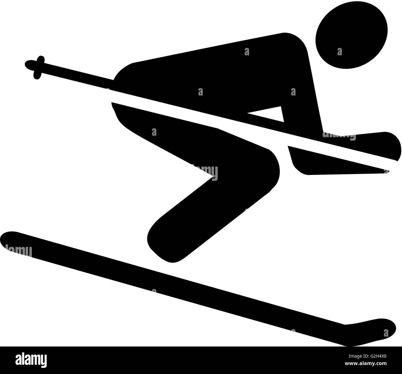 Ski Downhill Pictogram - Stock Image