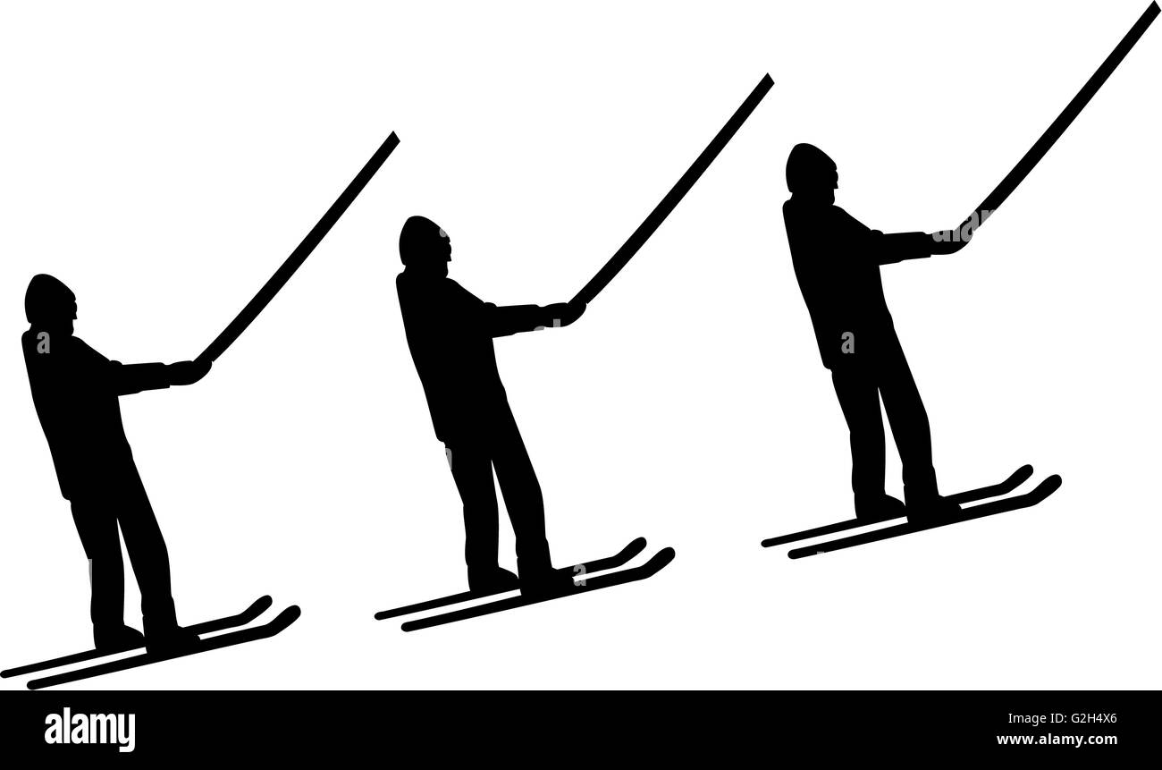 Ski Lift Men - Stock Image